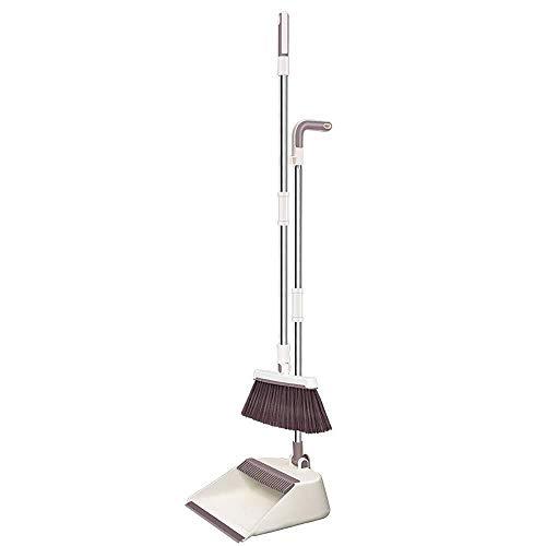 NJIUHB Broom, lange steel stoffer en blik Sweep Set, winddicht Ontwerp Rotating Card Point Upright opslag, 3 rijen van zachte haren handvat met gesp, for Huis schoonmaken, 34,6 * 10,6 * 11in, 37,8 * 1