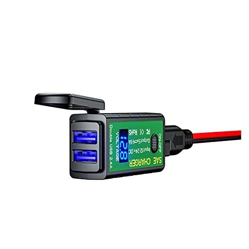 LIUXIAOKE Cargador USB de la Motocicleta SAE A Adaptador USB 2.1A / 2.4A Tipo C Voltímetro de Encendido/Apagado Interruptor Impermeable Desconexión rápida Motocicletas (Color : Type B)