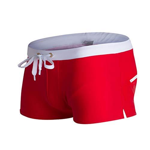 Yowablo Badehose Herren Badeshorts Schwimmhose Wassersport Kurze Hose Atmungsaktive Badehose Solide Badebekleidung Strandshorts Slim Wear (L,2Rot)