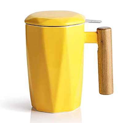 SWEEJAR Porcelain Tea Mug with Infuser and Lid, Wooden Handle, 17 Ounce, Geometric Shape Tea Cup for Steeping, Tea Lover, Gift, Home, Office (Yellow)