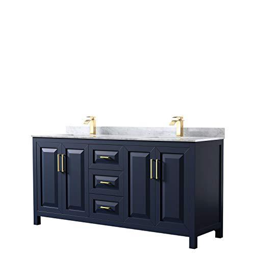 Daria 72 Inch Double Bathroom Vanity in Dark Blue, White Carrara Marble Countertop, Undermount Square Sinks, No Mirror