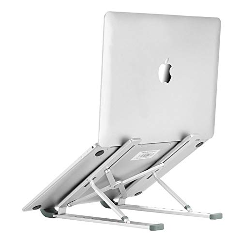 """Laptop Stand Adjustable Aluminum Laptop Computer Stand Laptop Riser Holder Compatible with MacBook Air Pro, HP, Lenovo, Dell, More 10-15.6"""" Laptops Collapsible and Non-Slip Aluminum Metal Holder"""