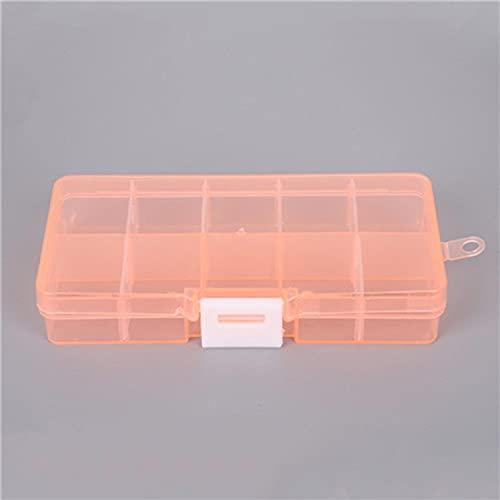 BAWAQAF 2 unidades de 10 ranuras ajustable transparente caja de almacenamiento de joyería anillo pendiente píldora de drogas perlas portátil plástico organizador caja de viaje