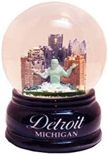 Detroit Michigan Snow Globe (3.5 Inches Tall) with Skyline and Wooden Base