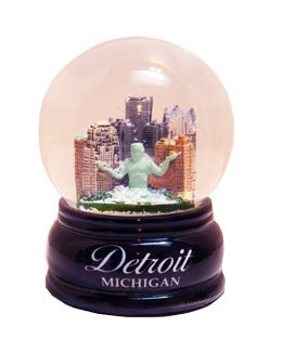 Detroit Michigan Snow Globe