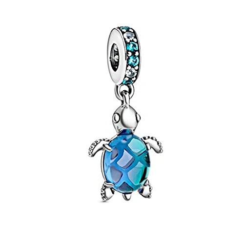 Pandora 925 plata esterlina colgante DIY nuevo Murano vidrio tortuga mar Swing granos encantos ajuste original pulseras Pandora joyería femenina
