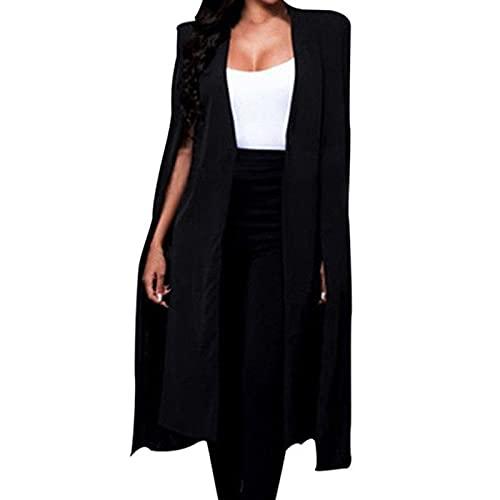 Blazer - Blazer de manga larga para mujer, elegante, color liso, elegante, chaqueta larga, elegante, chaqueta ligera sin mangas, color negro, Negro , XXXL