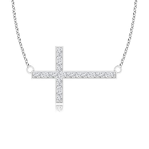 Holiday Gift For Women - Classic Diamond Sideways Cross Necklace in 9K White Gold (1mm Diamond)