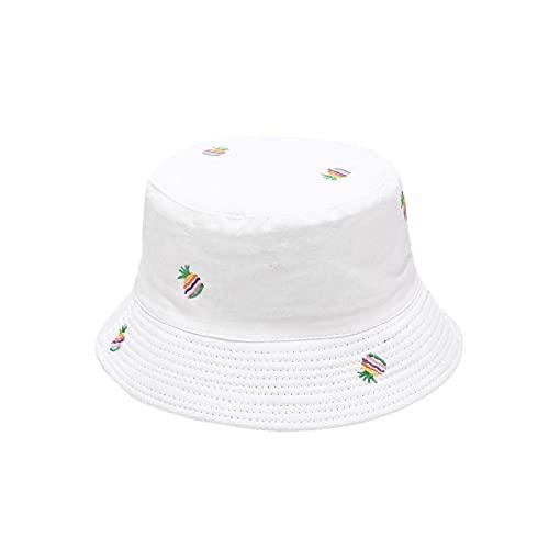 iSunday Sombrero de pesca,Sombrero bordado de piña del pescador del protector solar del pescador,Sombrero del cubo del verano,Gorra del sol de la playa del pescador,Sombrero del sol anti-UV