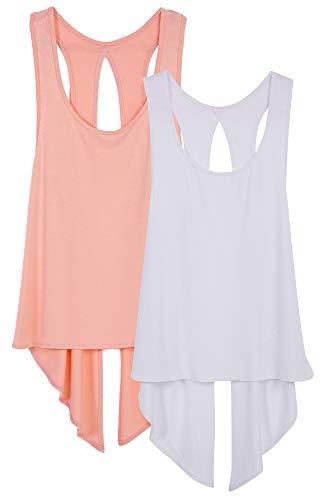 icyzone Damen Tank Tops Casual Kurzarm Rückenfrei Shirts für Yoga Workout (S, Pale Blush/White)