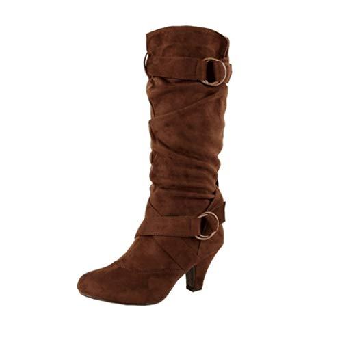 Frauen Slouch Stiefel Plissee High Heels Stiefel Spitz Cross Tied Schuhe Flock Mid-Calf Frauen Herbst Winter Stiefel