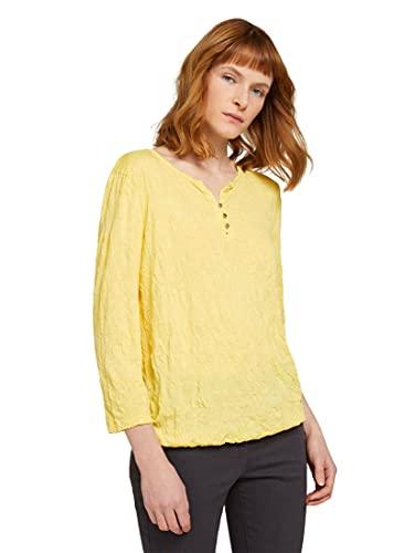 TOM TAILOR Damen 1024038 Henley Crincle T-Shirt, 25833-Smooth Yellow, XL
