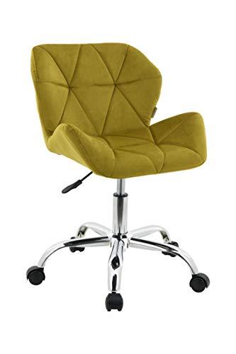 HNNHOME Modern Eris Padded Swivel Fabric Home Office Desk Computer Chair, Height Adjustable (Yellow, Velvet)