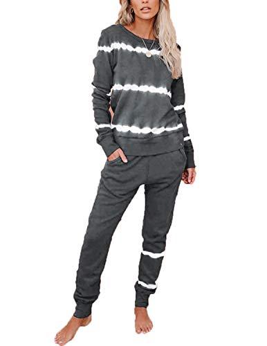 BUOYDM Tuta Due Pezzi Donna Pullover + Pantaloni Sportive Completa Set Pigiama Casual Casa Tempo Yoga Sportswear Grigio L