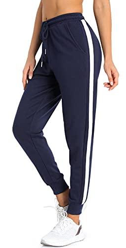 BENNIES Pantalones de chándal para mujer, pantalones de deporte largos para el tiempo libre, pantalones de entrenamiento de algodón, pantalones de yoga con rayas azul oscuro L