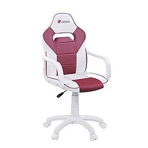 Adec – W-Design, Silla Gaming, Silla de Oficina o Despacho, Estudio o Escritorio, Simil Piel en Blanco y Fresa, Medidas…