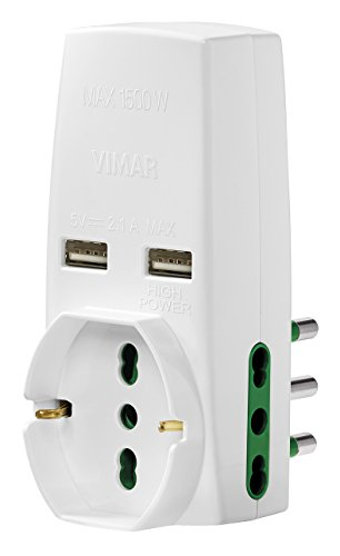 Vimar 0P00333.B adaptador de enchufe eléctrico Tipo L (IT) Blanco - Adaptador...