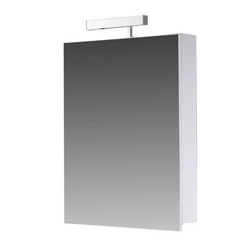 Eurosan Berlin, B40 armoire de toilette à miroir, avec applique halogène, 1 porte, 40 x 62 cm (largeur x hauteur), coloris blanc