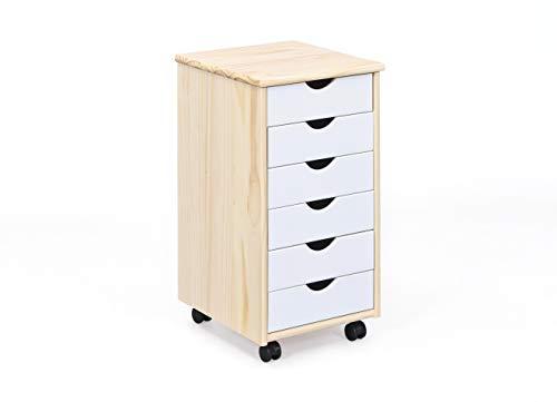 Inter Link Albino houten commode, ladekast, rolkast, kantoorkast, massief grenen, Milkyskin, wit, 35 x 40 x 65 cm