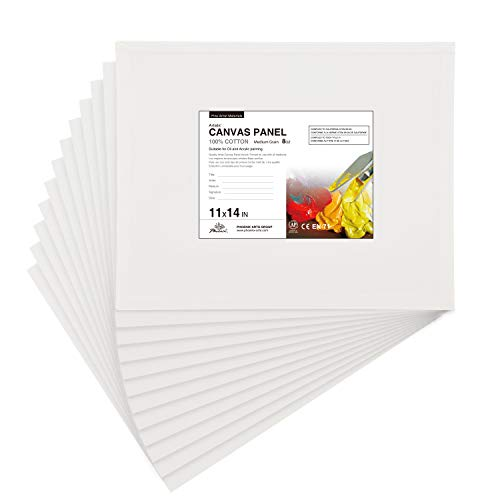 PHOENIX Artist Painting Canvas Panels - 11x14 Inch / 12 Pack - Triple Primed Cotton Canvas Boards for Oil & Acrylic Painting