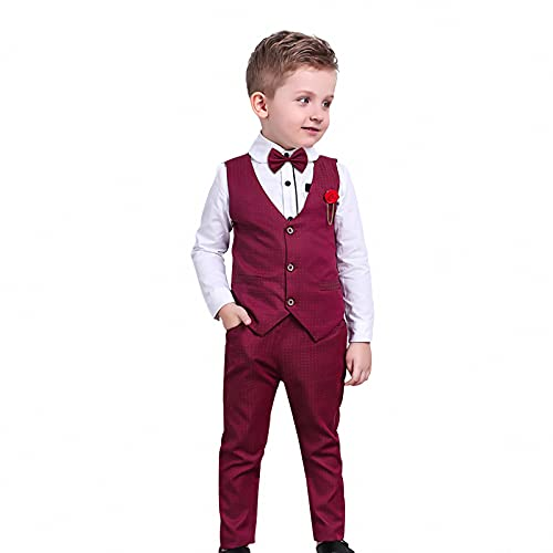 Conjuntos de Ropa de Navidad para NiñOs 4 Piezas Camisas de Pajarita de Manga Larga + Chaleco + Pantalones Trajes de Caballero para NiñOs PequeñOs Trajes Rojos 4-5 AñOs