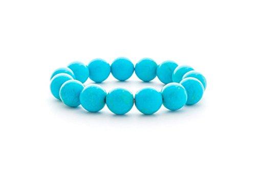 LOVEKUSH Rock Gift - Pulsera elástica de 14 mm, color azul turquesa, redonda, lisa, 19 cm, para hombres, mujeres, gf, bf y adultos.