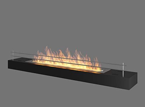 Cheminée au bioéthanol - Couleur : noir - 120 cm x 19 cm x 17,2 cm