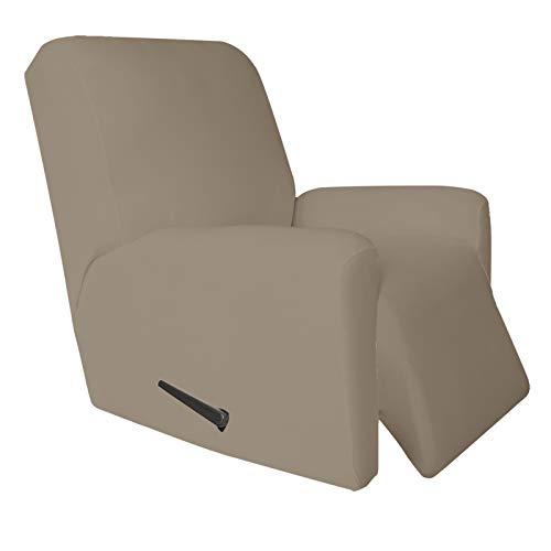 Easy-Going 4 piezas de microfibra elástica reclinable – Funda de sofá ajustable suave de elastano, protector de muebles lavable con parte inferior elástica para niños, mascotas (reclinable, natural)