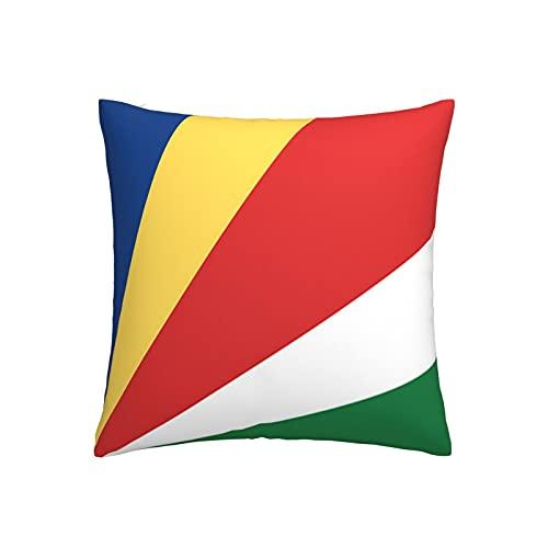 Kissenbezug mit Seychellen-Flagge, quadratisch, dekorativer Kissenbezug für Sofa, Couch, Zuhause, Schlafzimmer, Indoor Outdoor, niedlicher Kissenbezug 45,7 x 45,7 cm