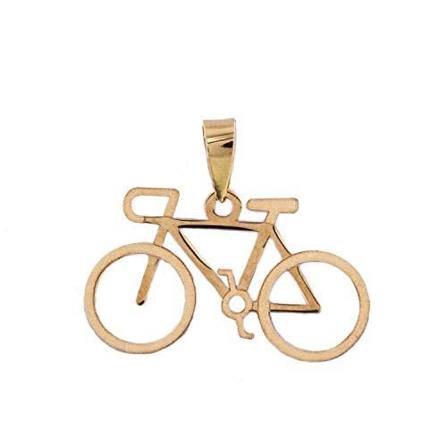 PRIORITY Fahrradanhänger in 18 Karat Gold, Anhänger in Gold, Anhänger für Damen, Anhänger für Mädchen, Sport-Anhänger, modischer Anhänger