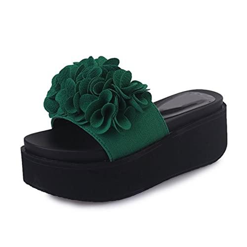 Damen Plateausandalen mit Single Band Flache Sandale Lässige und Bequeme Strandschuhe aus hochwertigen Materialien mit Blumen,Grün,36