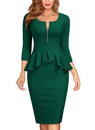 MIUSOL Formale Business Peplum Matita Festa Vestito da Donna Verde Scuro Large