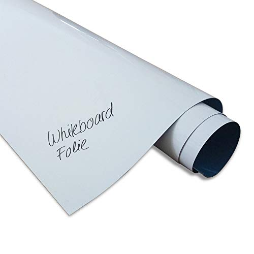 DIN A1 Magstick® Whiteboard-Folie selbstklebend I flexibler Haftgrund für Magnete I XL Ferrofolie in weiß, beschreibbar, nass abwischbar I mag_085
