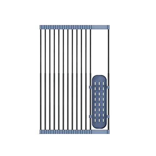 FENGCHUANG Estante de secado de platos enrollable sobre el fregadero, estante portátil de almacenamiento de utensilios de cocina, estante de secado para fregadero enrollable con cesta para colgar