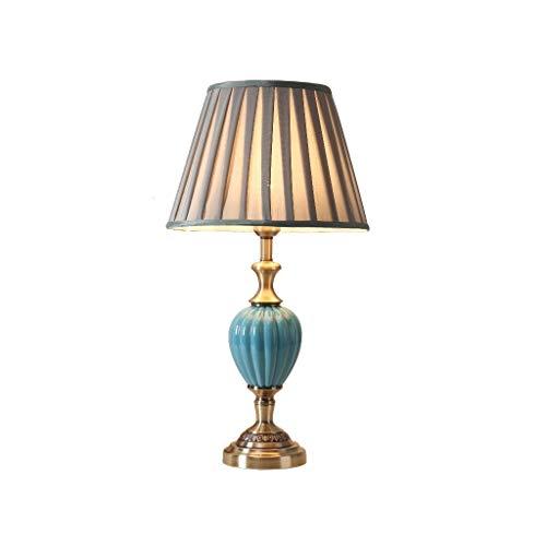 Lámpara de mesita de noche Lámpara de mesita de noche, dormitorio minimalista moderno, lámpara de mesa de cerámica, pantalla de tela plegable clásica, base de aleación de bronce Lámpara de mesa