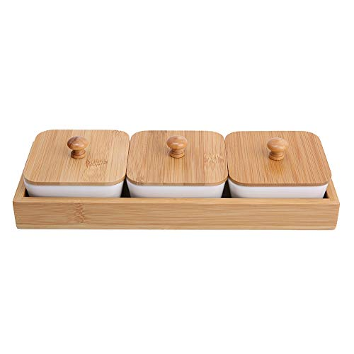 Ceramic Appetizer Serving Plate with Bamboo Tray Cover for Fruits Nuts Desserts ((3-Compartment))