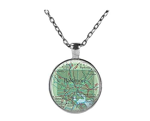 Sunshine Baltimore Halskette, Landkarten-Schmuck, Genealogie-Halskette, Heim-Halskette, Maryland Jewelry Baltimore Karte Halskette