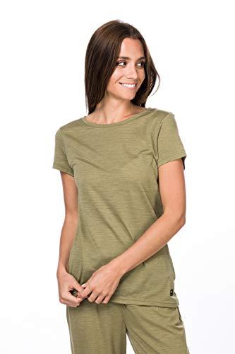 super.natural Weites Damen T-Shirt, Mit Merinowolle, W EVERYDAY TEE, Größe: M, Farbe: Beige meliert