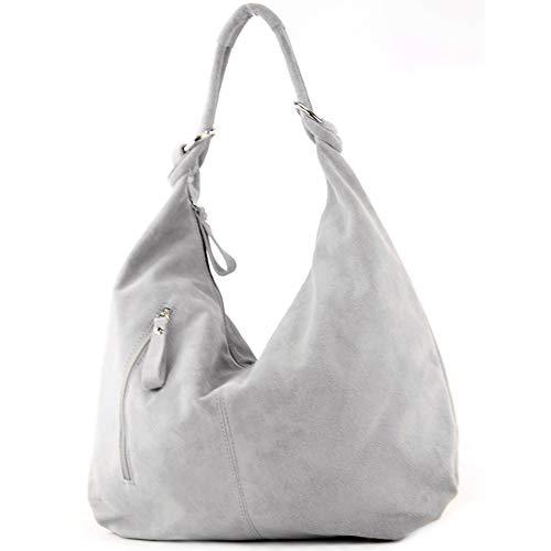 modamoda de - T158 - ital Schultertasche aus Wildleder Leder, Farbe:Grau