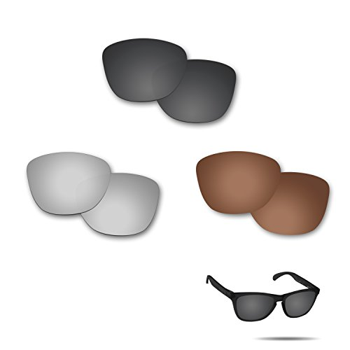 fiskr anti-saltwater lentes de repuesto para Oakley Frogskins Polarizados Gafas De Sol 3par Pack, para todo el año , Stealth Black & Metallic Silver & Bronze Brown
