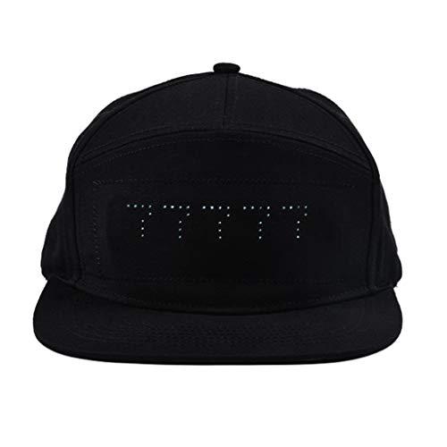 ToDIDAF Baseball Cap mit LED-Anzeige, Mode Smart Cap, DIY-Bearbeitung über Smartphone Partybedarf für Bühnenperformance Nachtclubs DJ Karneval Fasching Geburtstagsfeiern (Schwarz)