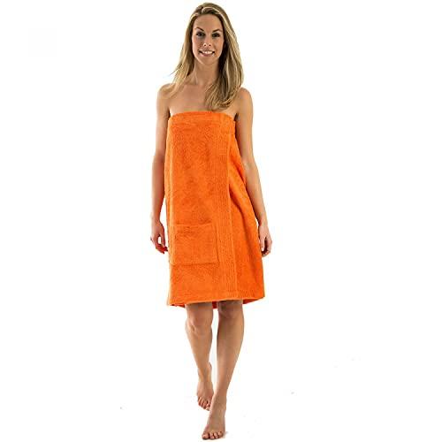 NATURA WALK Damen und Herren Saunakilt, Bio-Baumwolle,NEUHEIT: Schlingenfeste Qualität, kein Fädenziehen mehr (Kumquat, Damen L - XL)