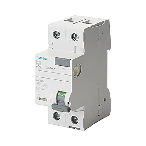 Siemens 5Sv.Class Un interruttore differenziale, 2 poli, 40.a, 30.MA, 70.MM