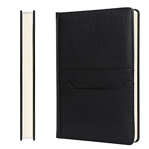 Skycase A5 Notebook,Hardcover Executive Notebooks,120 Sheets/240 Pages Journal Book with Card holders for Meeting , Work, Study and Travel,Black