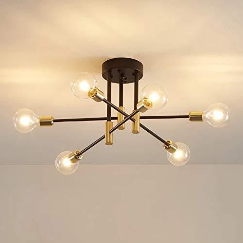 DAXGD Lámparas de Techo industriales, lámparas de Techo Retro Negras E27, Luces de Techo de ángulo Ajustable de 180° para lámpara de Sala de Estar del Dormitorio, diámetro 83 cm, Bombilla no incluida