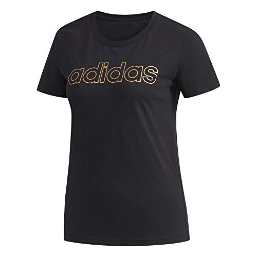 adidas Damen Essentials T-Shirt, Black/Copper Metallic, M