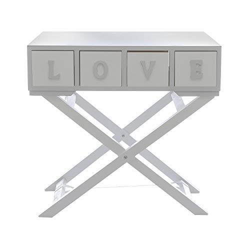 Tavolino in legno, da 64X30X17 cm Bianco E Grigio