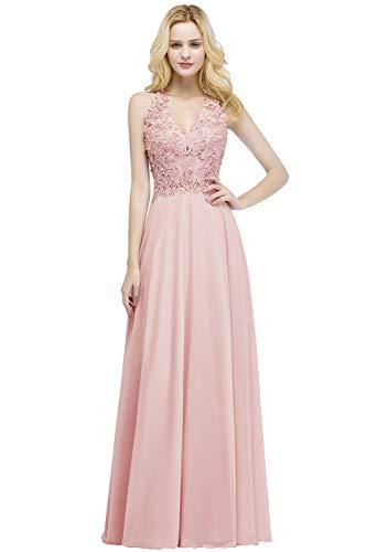 MisShow Ballkleid Abendkleid Lang Ärmellos Perlenstickerei Applique Chiffon Abschlusskleid, Rosa 2, 32