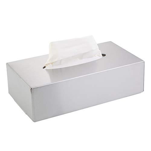 axentia Kosmetiktücherbox - Box für Kosmetiktücher - Taschentuchbox - Kosmetikbox als Spender oder Halter - Taschentuchspender mit Wandmontage - Tücherbox, Edelstahl, Silber, 24.5 x 13 x 7 cm
