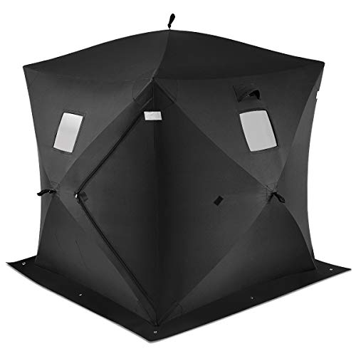 Tangkula Ice Fishing Shelter, Pop-up Portable Ice Shanty Tent for 2-3 Person, Waterproof Ice Shelter w/Carrier Bag, Detachable Ventilated Windows & Zippered Door for Ice Fishing, Black